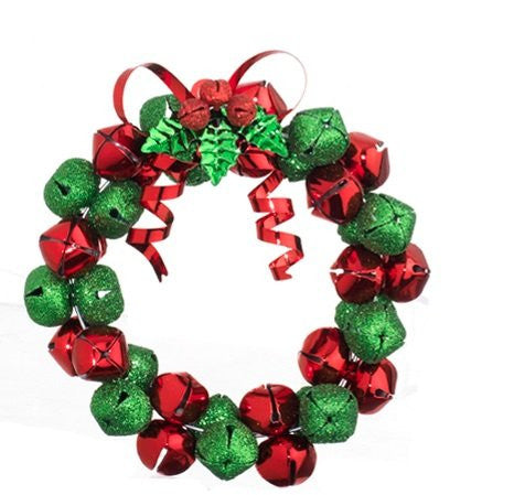 "RAZ Imports - 4"" Christmas Jingle Bell Wreath Christmas Tree Ornaments / Christmas Decoration"