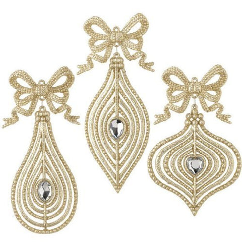 RAZ Imports Jeweled Ornaments with Bows