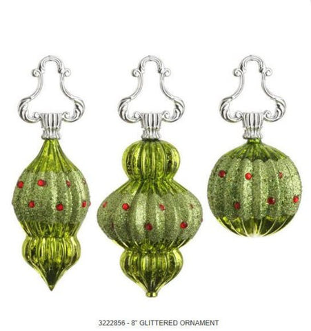RAZ Imports - Lime Green Glass Finial Ornaments With Red Beads