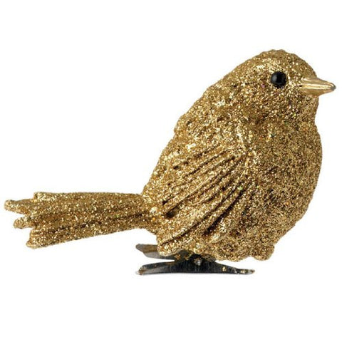 RAZ Imports - Glittered Gold Clip-On Bird Christmas Holiday Ornament 2.5""