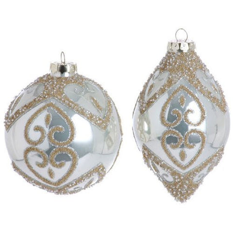 RAZ Imports - Pearl White and Gold Ball and Teardrop Glass Ornaments