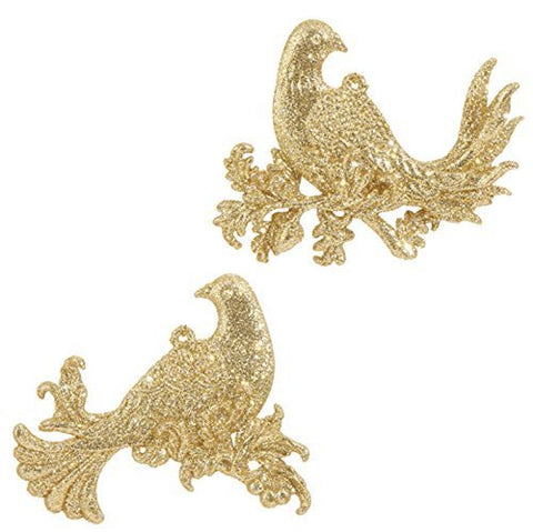 "RAZ Imports - Formal Affair - 4"" Glittered Partridge Christmas Tree Ornament - Set of 2"