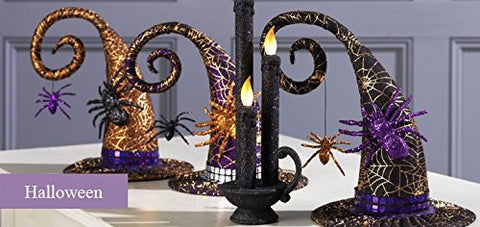 "Halloween Decoration - 8"" Witches Hat with Golden Spider Web, Large Spider & Dangling Spider"