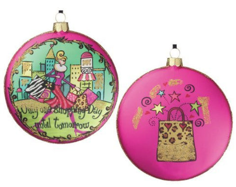 "Sullivans - 4"" Shopping Glass Disc Ornament"