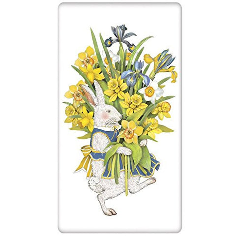 Mary Lake-Thompson - Easter - White Rabbit with Daffodils - Bagged Flour Sack Towel