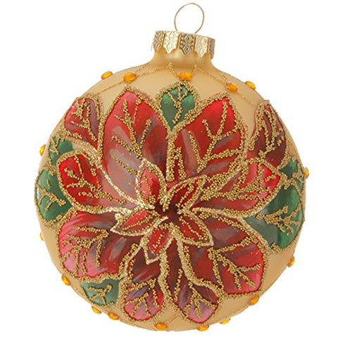 "RAZ Imports - Night Before Christmas - 4"" Beaded Poinsettia Ball Christmas Tree Ornament"