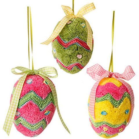"RAZ Imports Set of 3 Eggs 4.5"" Easter Egg Ornaments - Set of 3"
