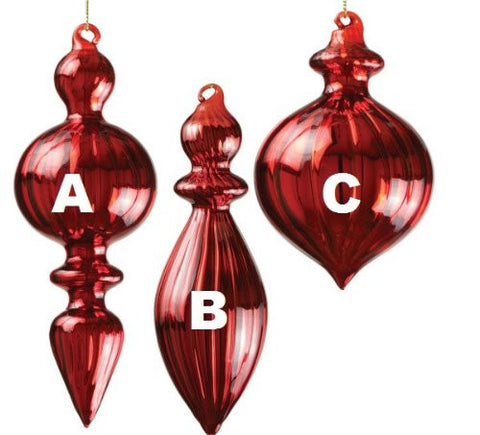 Sullivans - Clear Red Glass Finial Ornaments