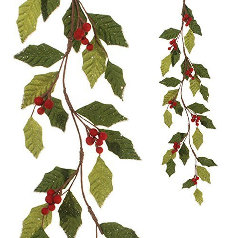RAZ Imports - 4' Red and Green Holly Garland