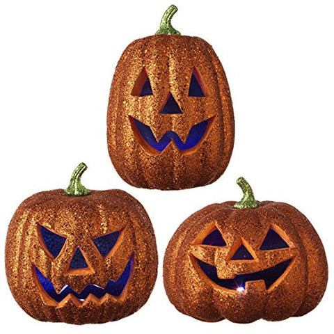 "RAZ Imports - Fall / Halloween - 10.5"" LED Lighted Pumpkin Decorations - Set of 3"