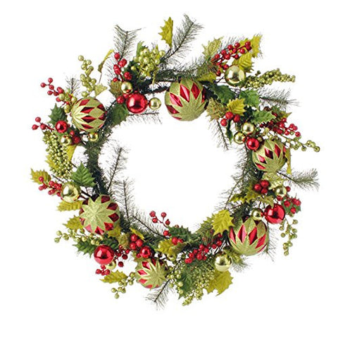 "RAZ Imports - 24"" Holly Christmas Ball Ornament Wreath"