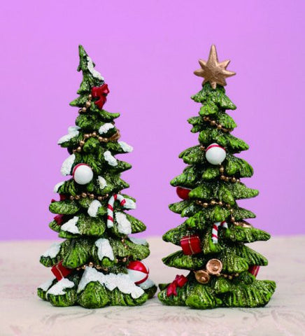 TII - Resin Holiday Decorated Christmas Trees - Set of 2