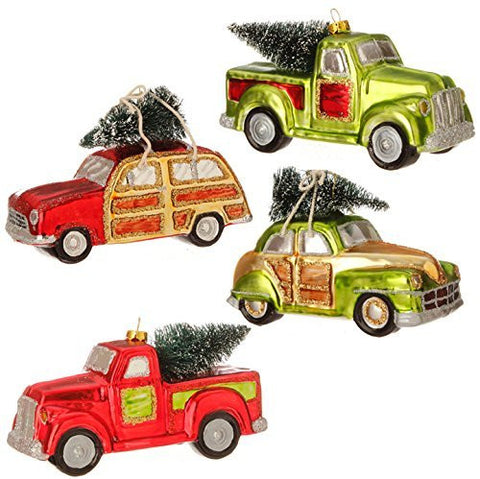 "RAZ Imports - Jingle All the Way - 5.5"" Automobile with Christmas Tree Ornaments - Set of 4"