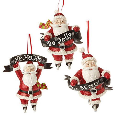"RAZ Imports - 5.5"" Santa Banner Ornaments - Set of 3"