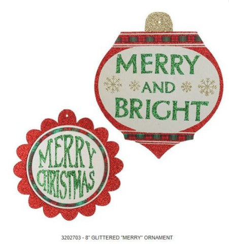 "RAZ Imports - Glittered Red and Green ""Merry"" Ornaments"
