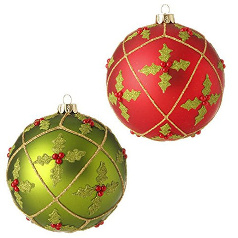"RAZ Imports - 4"" Holly Ball Ornaments - Set of 2"