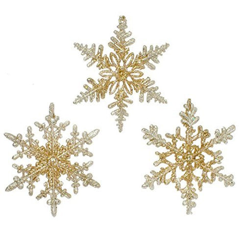 "RAZ Imports - Gold Glittered Snowflake Ornaments 4.5"" - Set of 3"