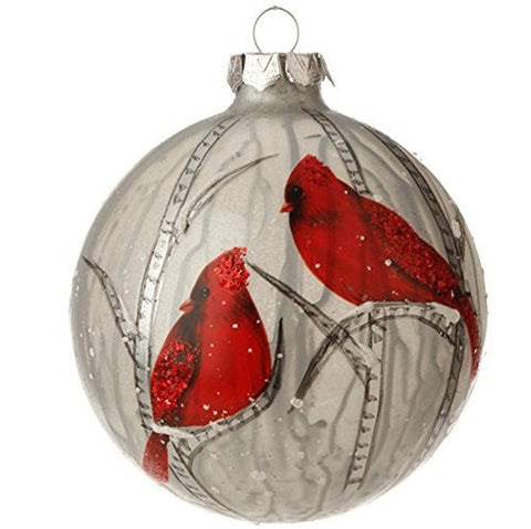 RAZ Imports - Winterberry Theme - Red Cardinals on Silvery Grey Ornaments with Hand Painted Trees