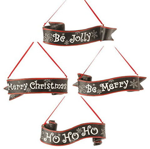 "RAZ Imports - 7"" Banner Ornaments - Set of 4"