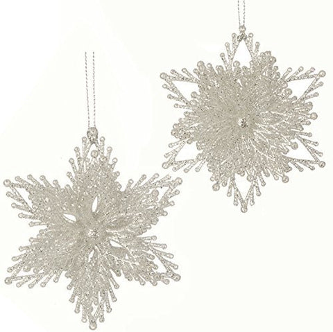 "RAZ Imports - Enchanted Whimsy - 4"" Glittered Snowflake Christmas Tree Ornament - Set of 2"