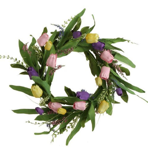 "RAZ Imports - Multicolored 21"" Tulip Wreath"