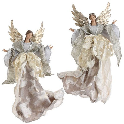 "RAZ Imports - Christmas - 19"" Angel Ornament / Tree Topper - Looking Left (Pictured on Left)"