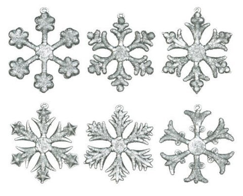 "Glass Snowflake Ornament 2.5"" (Set of 6)"