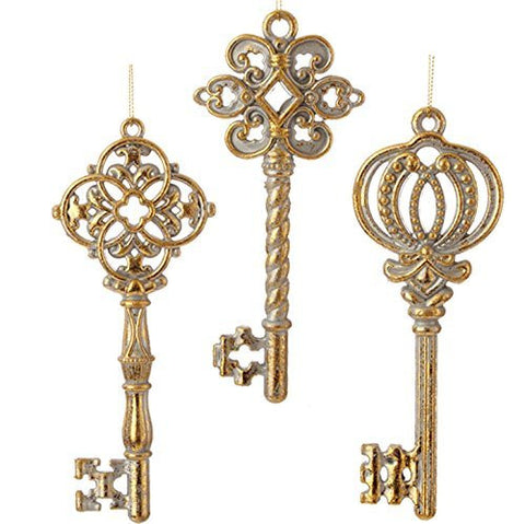 RAZ Imports - Antique Gold Key Christmas Tree Ornaments - Set of 3