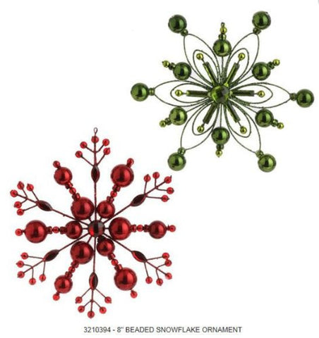 RAZ Imports - Red and Green Snowflake Ornaments