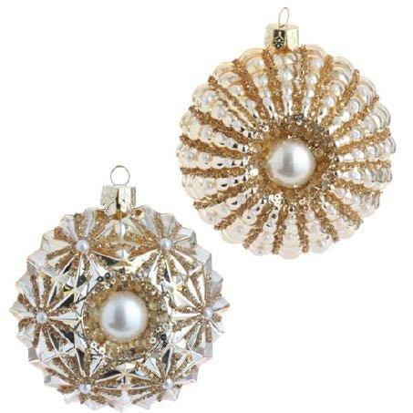 RAZ Imports - Gold Glass Beaded Medallion Ornaments