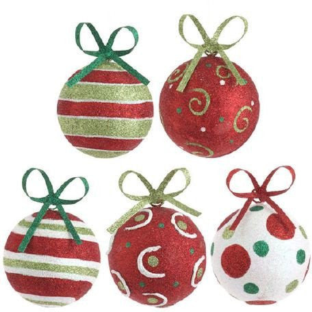 "RAZ Imports - 5.5"" Glittered Metal Ball Ornaments"