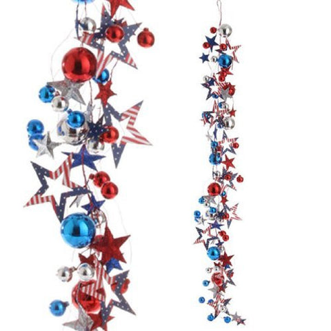 RAZ Imports - Patriotic Garland with Red, Blue & Silver Stars and Balls 4'