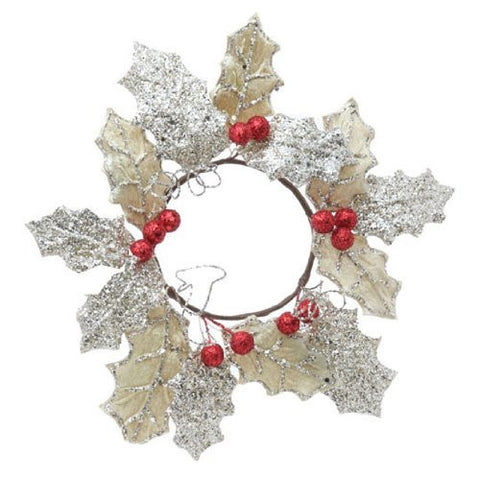 "RAZ Imports - 10"" Holly Candle Ring"