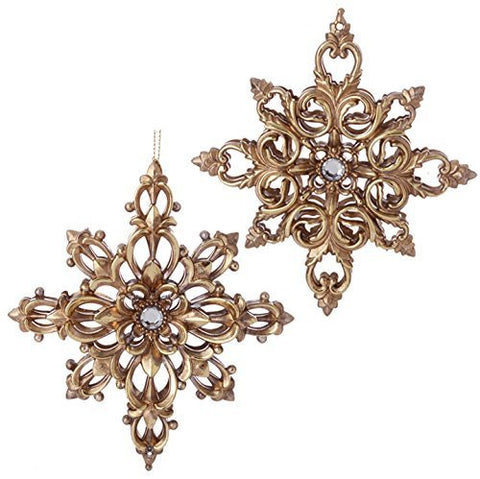 "RAZ Imports - Garnet Theme - 5.5"" Antiqued Gold Filigree Snowflake Ornaments - Set of 2"