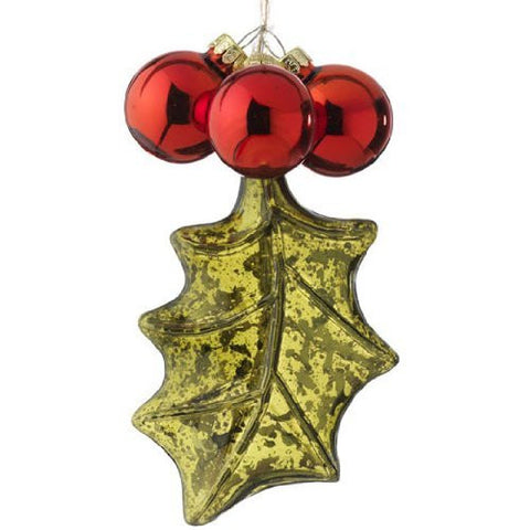"RAZ Imports - 5.5"" Glass Holly Ornament"