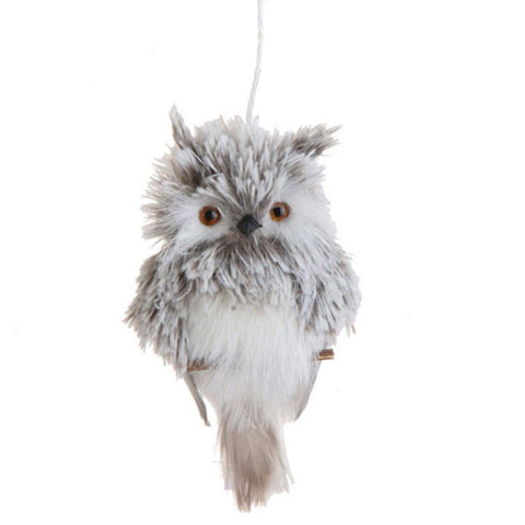 Flat White & Grey Feather Owl on Branch Christmas Tree Ornament, 6 Inches Tall