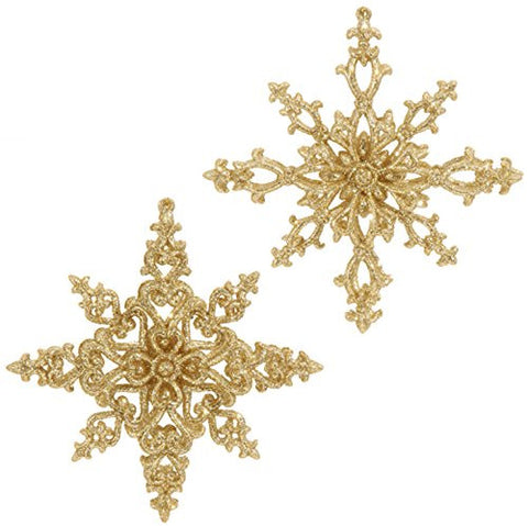 "RAZ Imports - Formal Affair - 5"" Gold Glittered Snowflake Christmas Ornaments - Set of 2"