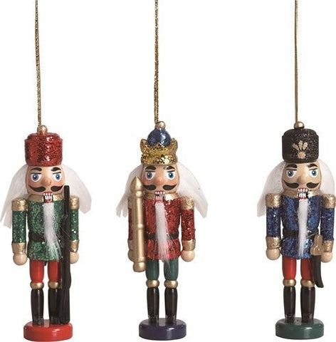 "TII - 5"" Red, Gold, Blue, and Green Wood Glittered Nutcrackers - Set of 3"