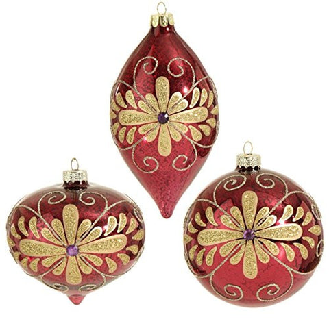 "RAZ Imports - 4"" Plum and Gold Glittered Flower Decorated Christmas Tree Ornaments - Set of 3"