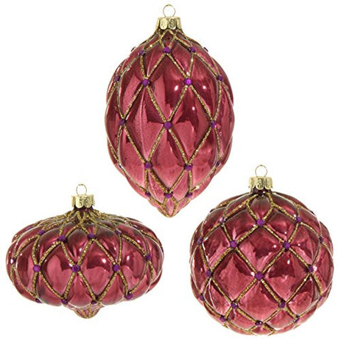 "RAZ Imports - Plum Visions - 4"" Glittered Gem Ornaments - Set of 3"