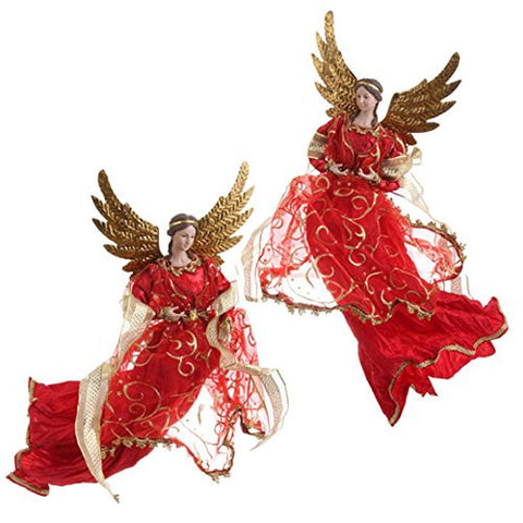 "RAZ Imports - 15"" Red & Gold Angel Ornaments - Set of 2"