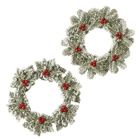 "4.5"" Glittered Wreath Christmas Tree Ornaments - Set of 2"