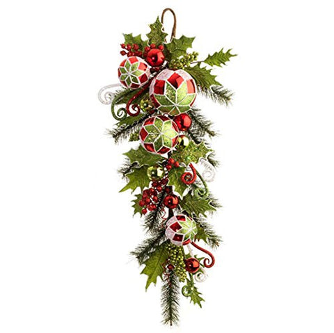 "RAZ Imports - 32"" Christmas Holly Ball Ornament Decorative Swag"