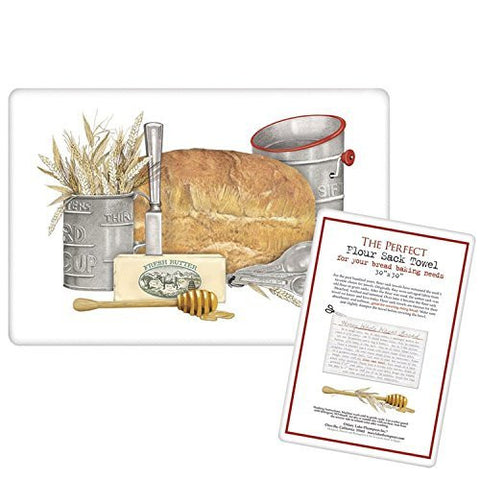 Mary Lake-Thompson - Bread Cover Flour Sack Towel - Includes a recipe card for honey whole wheat bread