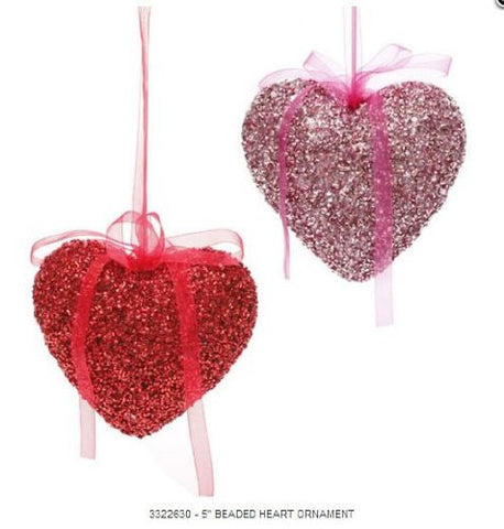 "RAZ Imports - 5"" Beaded Heart Ornament"
