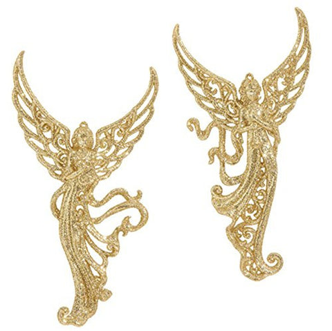 "RAZ Imports - 7"" Gold Glittered Filigree Angel Christmas Tree Ornaments - Set of 2"
