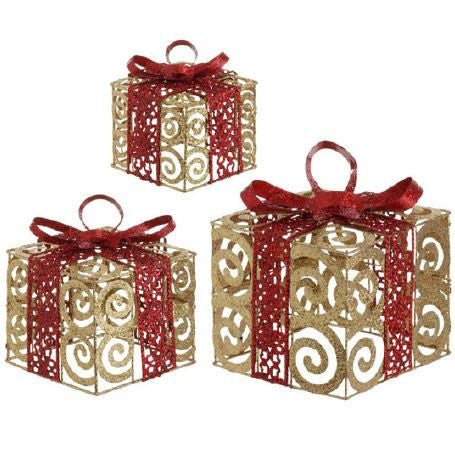 RAZ Imports - Glittered Gold and Red Swirl Metal Presents
