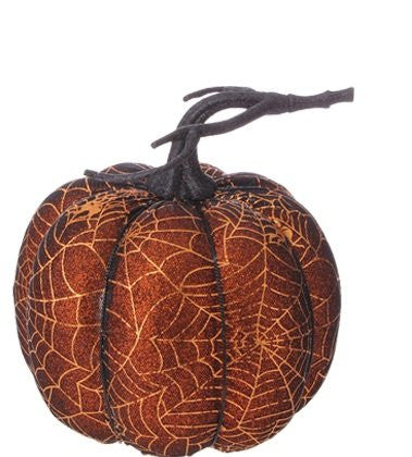 "RAZ Imports - Halloween Decoration - 7"" Golden Spider Web Decorated Pumpkins"