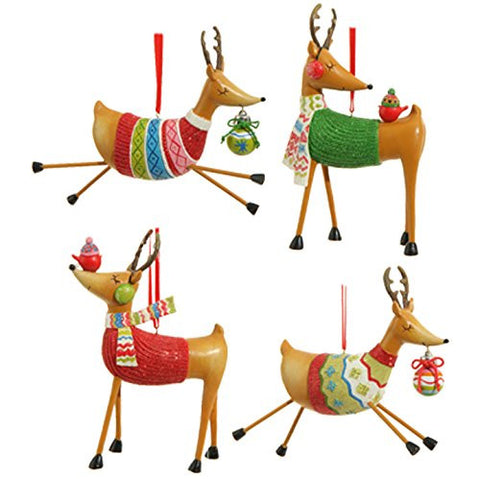 "RAZ Imports Exclusive - 5.5"" Reindeer in Sweaters Christmas Tree Ornaments - ..."