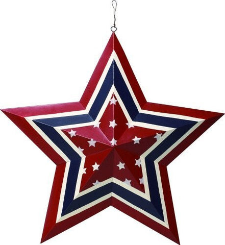 TII 24 Inch Americana Patriotic Red White and Blue Metal Star